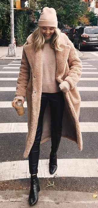 How to wear: tan fur coat, beige turtleneck, black silk skinny pants, black leather ankle boots