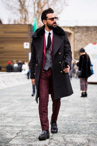 How to Wear a Black Knit Tie For Men: Combining a black fur collar coat with a black knit tie is a nice pick for a smart and refined look. Let your sartorial chops really shine by finishing your look with black leather double monks.