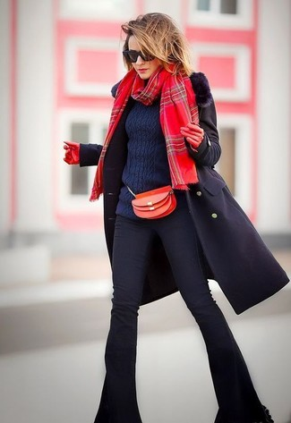 How to wear: black fur collar coat, navy cable sweater, black flare jeans, red leather crossbody bag