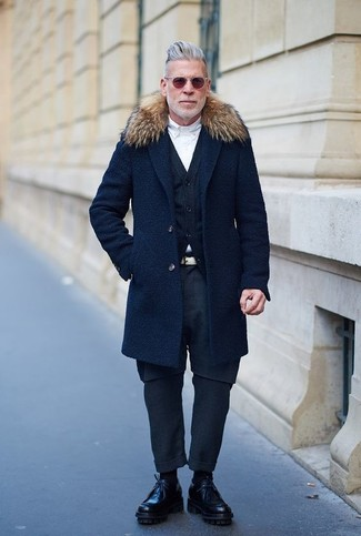 Nick Wooster wearing Navy Fur Collar Coat, Navy Cardigan, White Dress Shirt, Navy Chinos