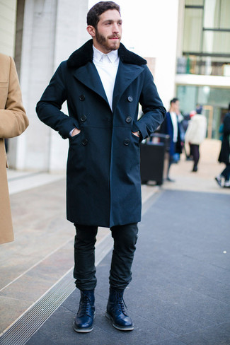 How to wear: navy fur collar coat, white crew-neck sweater, white dress shirt, black jeans