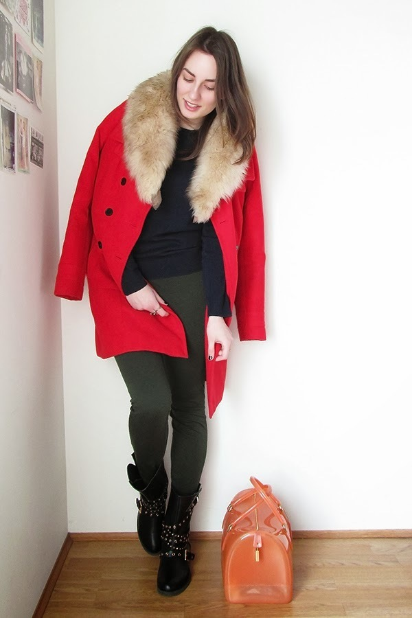 Womens red coat with fur collar