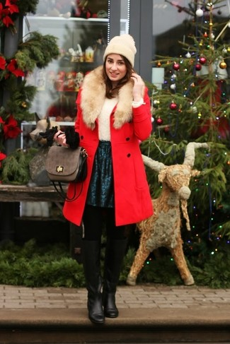 How to wear: red fur collar coat, white fluffy crew-neck sweater, teal skater skirt, black leather knee high boots