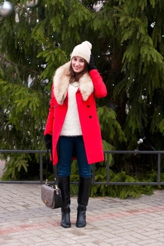 How to wear: red fur collar coat, white fluffy crew-neck sweater, navy skinny jeans, black leather knee high boots