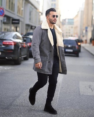Dark Green Sunglasses Outfits For Men: We all look for practicality when it comes to fashion, and this modern casual pairing of a grey fur collar coat and dark green sunglasses is a perfect example of that. Black suede casual boots are a simple way to bring a hint of elegance to this look.