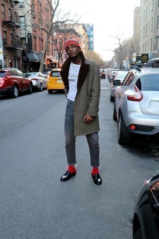 How to Wear Red Socks For Men: This look with a grey fur collar coat and red socks isn't a hard one to pull off and is easy to change throughout the day. Black leather loafers will instantly elevate even the simplest outfit.