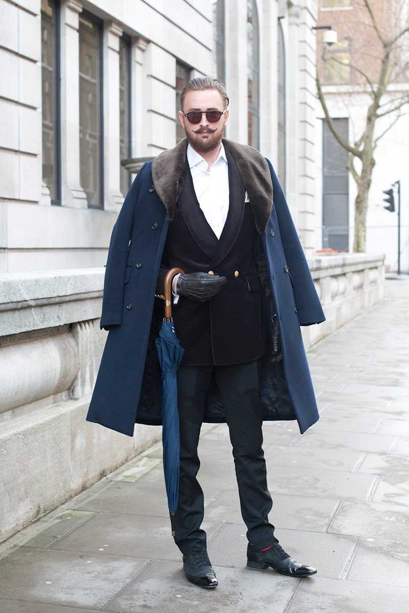 Men's Navy Fur Collar Coat, Black Velvet Double Breasted Blazer ...