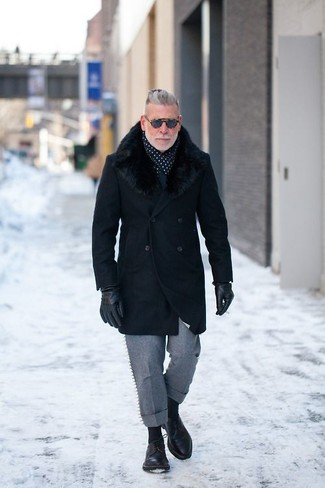 How to wear: black fur collar coat, grey wool dress pants, black leather derby shoes, navy and white polka dot scarf