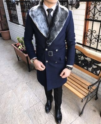How to wear: navy fur collar coat, white dress shirt, black dress pants, black leather double monks