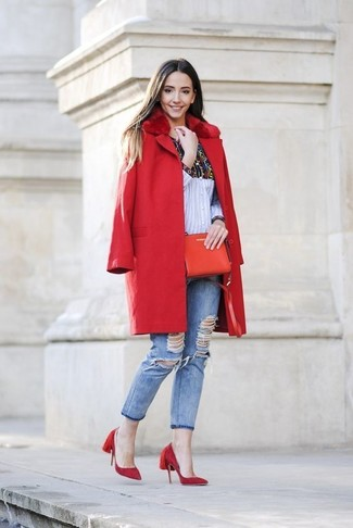 How to wear: red fur collar coat, multi colored print dress shirt, light blue ripped skinny jeans, red suede pumps
