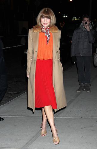 Fur collar coat long sleeve blouse midi skirt flat sandals scarf large 13297