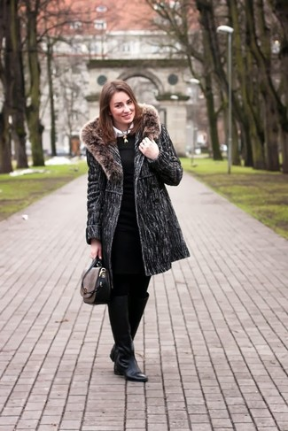Perfect the smart casual look in a dark grey fur collar coat and a black knit fitted dress. Dress down your look with black leather knee high boots.