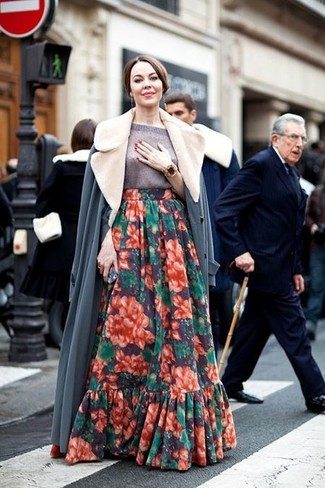 How to wear: grey fur collar coat, grey short sleeve sweater, multi colored floral maxi skirt, gold bracelet