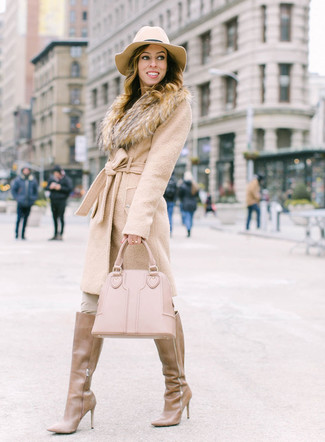 How to wear: beige fur collar coat, beige skinny pants, tan leather knee high boots, beige leather tote bag