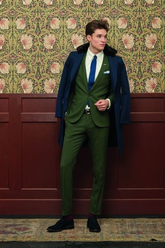 How To Wear an Olive Suit With a White and Purple Dress Shirt