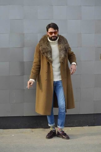 How to Wear Orange Sunglasses For Men: Pair a tan fur collar coat with orange sunglasses if you're on the lookout for a look idea that is all about casual style. Serve a little outfit-mixing magic by finishing off with a pair of burgundy fringe leather loafers.