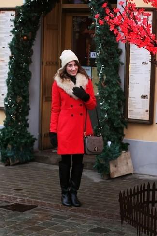 How to wear: red fur collar coat, black turtleneck, black leather knee high boots, grey leather satchel bag