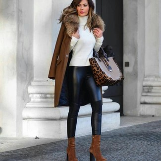 How to wear: brown fur collar coat, white turtleneck, black leather leggings, tobacco suede ankle boots