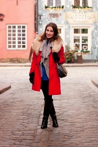 How to wear: red fur collar coat, grey fur vest, blue dress shirt, black skinny jeans