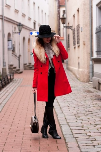 How to wear: red fur collar coat, grey fur vest, black knit sheath dress, black leather knee high boots