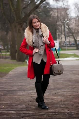 How to wear: red fur collar coat, grey fur vest, grey turtleneck, black skinny jeans