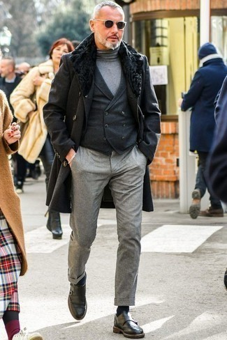 How to Wear Grey Wool Chinos: This semi-casual pairing of a black fur collar coat and grey wool chinos is extremely easy to put together in seconds time, helping you look awesome and prepared for anything without spending too much time combing through your closet. To add some extra flair to this outfit, introduce a pair of charcoal leather double monks to your outfit.