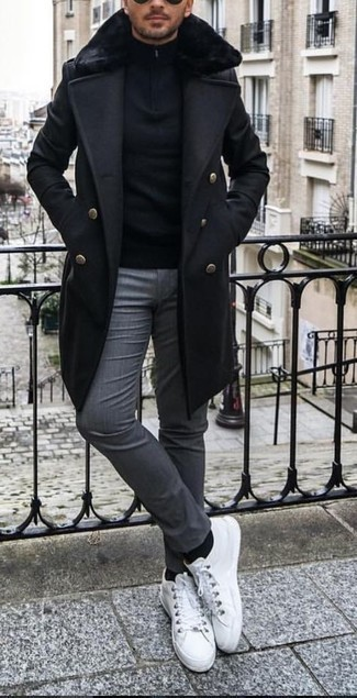 Grey Chinos Outfits: For an outfit that's worthy of a modern fashion-forward gent and effortlessly classic, pair a black fur collar coat with grey chinos. Puzzled as to how to round off? Complement your ensemble with white canvas low top sneakers to change things up a bit.
