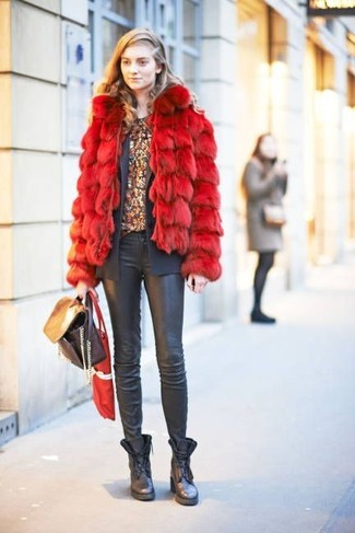 How to wear: red fur jacket, charcoal blazer, burgundy floral crew-neck t-shirt, black leather skinny jeans
