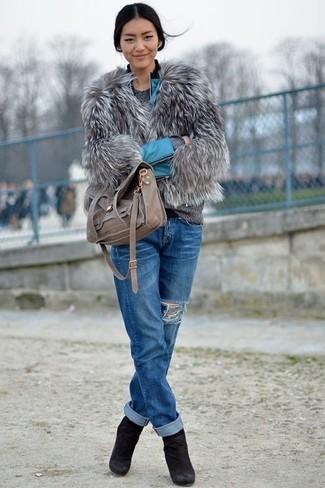 Missguided Cassie Shaggy Faux Fur Coat Grey 85