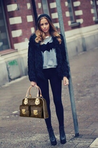 How to Wear a Brown Print Leather Satchel Bag: This combination of a black fur jacket and a brown print leather satchel bag is hard proof that a safe casual look can still be absolutely chic. Change up this outfit with a more refined kind of shoes, such as this pair of black leather ankle boots.