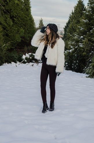 Dark Purple Skinny Jeans Outfits: This combination of a white fur jacket and dark purple skinny jeans is pulled together and yet it's practical enough and apt for anything. Infuse a sense of stylish effortlessness into your ensemble by wearing black leather lace-up flat boots.