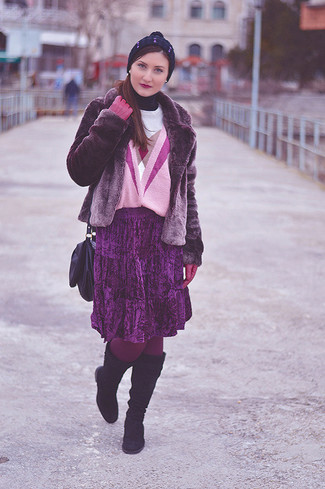 How to Wear a Purple Leather Crossbody Bag: This casual pairing of a purple fur jacket and a purple leather crossbody bag is extremely easy to put together in no time flat, helping you look chic and prepared for anything without spending a ton of time rummaging through your wardrobe. Get a little creative with shoes and add a pair of dark purple suede knee high boots to the mix.