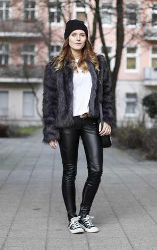 How to wear: charcoal fur jacket, white crew-neck t-shirt, black leather leggings, black and white low top sneakers