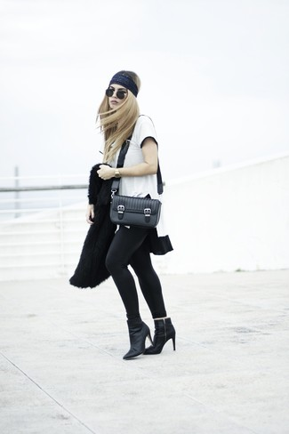 Choose a black fur jacket and a headband and you'll look stunning anywhere anytime. Black leather ankle boots will become an ideal companion to your style. You can bet this getup is great come warmer weather.