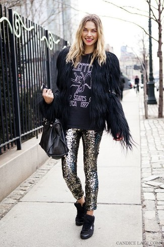 How to wear: black fur jacket, black and white print crew-neck t-shirt, silver sequin skinny pants, black high top sneakers