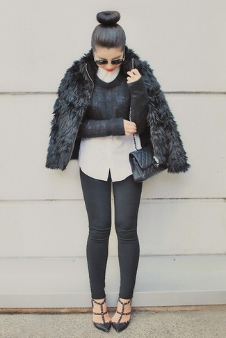 Black Leather Crossbody Bag Chill Weather Outfits: This pairing of a black fur jacket and a black leather crossbody bag will cement your sartorial chops even on weekend days. Get a little creative with footwear and grab a pair of black leather pumps.