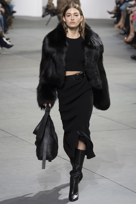 Women's Black Fur Jacket, Black Cropped Sweater, Black Knit Midi ...