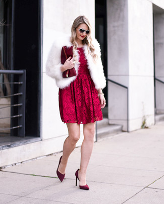 How to wear: white fur jacket, red lace fit and flare dress, burgundy suede pumps, burgundy leather clutch