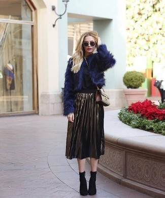 How to wear: navy fur jacket, black long sleeve blouse, gold pleated midi skirt, black elastic ankle boots