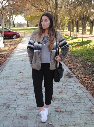 How to wear: beige fur jacket, grey long sleeve t-shirt, black chinos, white low top sneakers