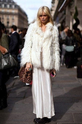 How to wear: white fur jacket, white satin maxi dress, black leather ankle boots, brown leopard suede crossbody bag