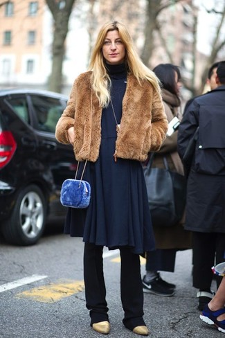 How to wear: brown fur jacket, navy knit midi dress, black dress pants, gold leather ankle boots