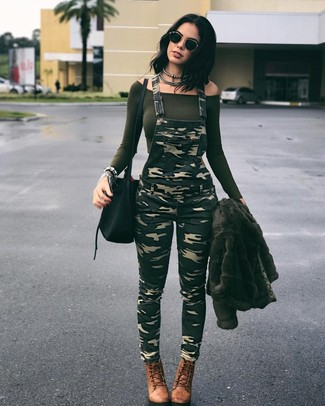 How to wear: olive fur jacket, olive off shoulder top, olive camouflage overalls, brown leather lace-up ankle boots