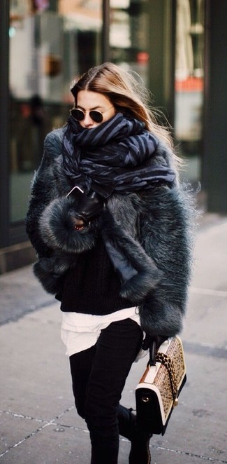 How to wear: charcoal fur jacket, black knit oversized sweater, white crew-neck t-shirt, black skinny jeans