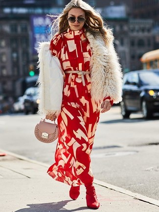 How to Wear a Red Print Shirtdress: If you're looking for a casual and at the same time totaly chic outfit, wear a red print shirtdress and a beige fur jacket. If not sure about what to wear in the footwear department, go with burgundy elastic ankle boots.