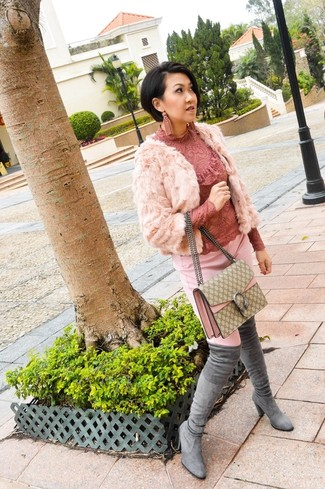 Women's Pink Fur Jacket, Pink Skinny Pants, Grey Suede Over The Knee Boots, Beige Check Leather Crossbody Bag