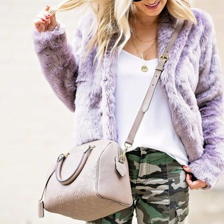 Consider wearing a lavender fur jacket and dark green skinny jeans for a refined yet off-duty ensemble.