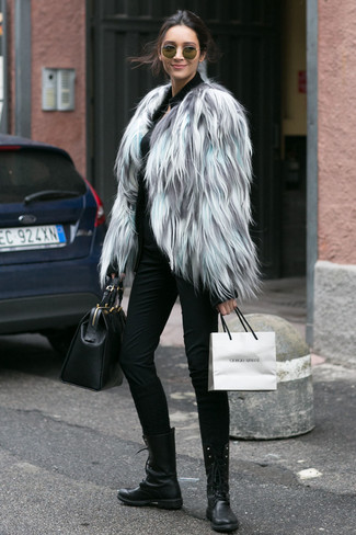 How to wear: grey fur jacket, black zip sweater, black skinny pants, black leather lace-up flat boots