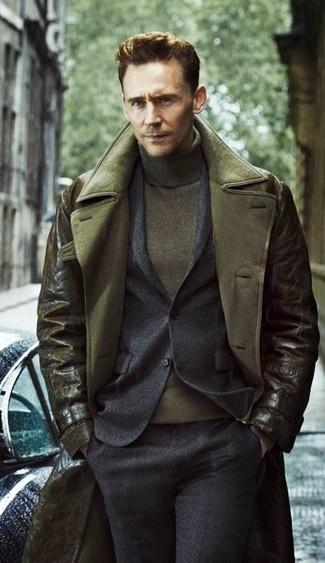 Gabardina de cuero verde oliva traje de lana en gris oscuro jersey de cuello alto verde oliva large 6614