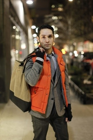 How to wear: orange quilted gilet, grey herringbone wool blazer, black cardigan, white check dress shirt